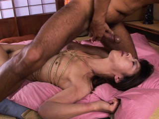Roped Asian gags on a hairy gaffe stub being fingered