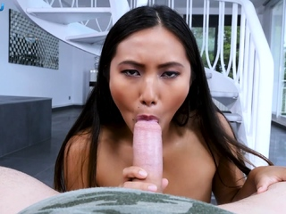 Small tits asian babe gives an amazing blowjob in POV