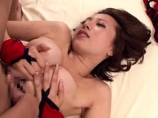 Tiny busty Japanese wife titjob